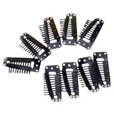 20pcs Teeth Snap-Comb Wig Clips with Rubber for Hair Extension Black 3.6CM