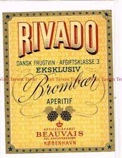 Unused 1940s DENMARK Copenhagen Beauvais Rivado Brombaer Frugtvin Wine Label