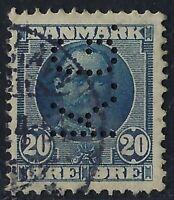 Denmark Perfin K25-K.G.: Kobenhavns Grundejerbank (1905-14), 20 ore blue, RF: 25