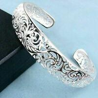 Stylish 925 Sterling Silver Bezel Hollow Cuff Bangle Open Bracelet Women Jewelry