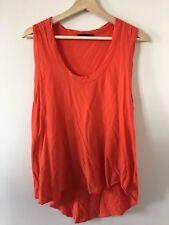 BASSIKE Orange Red Organic Cotton Singlet with Twisted Hem Size M