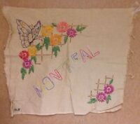 """Vintage 1920's Embroidery piece """"Montreal"""" Canada floral butterfly"""