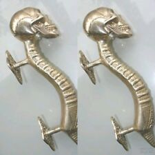 2 Small SKULL handle DOOR PULL SILVER solid BRASS old look vintage style 21 cm B