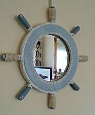 Nautical Ships Wheel Mirror in washed blue & white. Bathroom