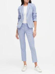 NWT Banana Republic 14T 14 TALL Sky Blue Classic-Fit Linen-Cotton Blazer Jacket