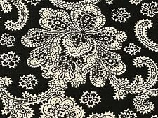 Fabric Western Floral Paisley Damask White on Black Cotton 1/4 Yard