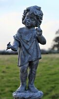 Large Cherub Garden Ornament Figure aged antique lead effect finish little boy