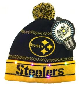 PITTSBURGH STEELERS LED LIGHT UP KNIT POM POM KNIT HAT BEANIE FREE SHIPPING