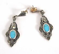 Turquoise Marcasite Earrings 925 Sterling Silver