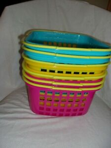 6 Colorful Plastic Square Easter/Storage/Organizer Baskets W/Moveable Handle New