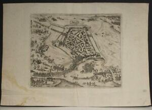 GROENLO NETHERLANDS 1650ca ANONYMOUS UNUSUAL ANTIQUE COPPER ENGRAVED CITY MAP