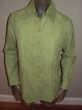 NWT Notations MoleSkin Avocada Green Button Shirt Top Womens Medium M