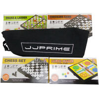 JJPRIME- 4x Magnetic Travel Board Games Set Chess Ludo Snakes and Draughts Game