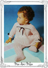 """Vtg Knitting Pattern To Make a PRETTY LACY SMOCK DRESS & TIGHTS BABY GIRL 18-19"""""""