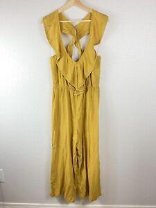 Xhilaration V Neck Ruffle Romper Women Size Medium NWOT Mustard Yellow