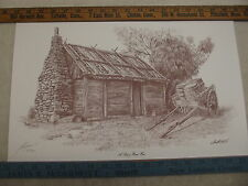 LIMITED EDITION LAWRENCE PRINT A SLAB & BARK HUT PENCIL SIGNED 234/300