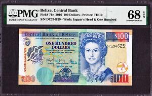 Belize 100 Dollars QEII 1st May 2016 Pick-71c SUPERB GEM UNC PMG 68 EPQ