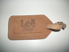 TRUE Vintage Lee Jeans Co. Embossed Leather Advertising Luggage / Baggage Tag