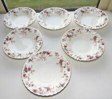 Minton English Bone China Ancestral Pattern 6 x Rimmed Soup Bowls 20cm