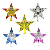 AU_ KE_ 3D Hollow Out Five-pointed Star Christmas Tree Top Decor Home Mall Xmas