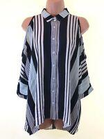 BNWOT NEW LOOK blue black white cut out cold shoulder stripe blouse top size 8
