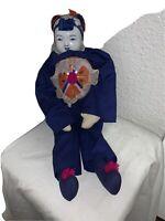 Large Vintage Asian Blue White Porcelain Robed Good Fortune Doll Toy Girl Art