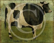 Primitive Country Isobell the Cow Farm Farmhouse Folk Art Print 8x10