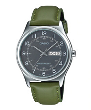 NEW Casio MTP-V006L-3B Men's Analog SILVER-tone Watch GREEN Leather Band DATE