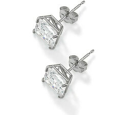 1 Carat Princess Cut Stud Earrings Solid 14k Real White Gold Square earrings