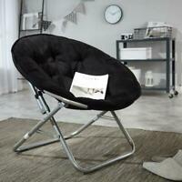 Large Microsuede Saucer Chair, Black Foldable  for dorm rooms and apartments