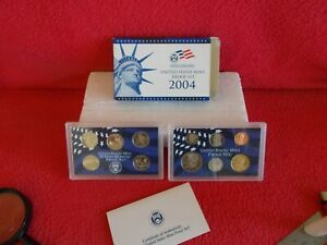 2004, UNITED STATES PROOF MINT SET OF 11 COUNT (11) COINS, ORIGINAL BOX & COA ..