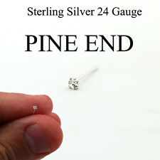 Sterling silver Nose stud Clear stone 24 Gauge nose ring PIN END 1.5mm N-15