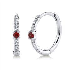 Ruby Diamond Huggie Hoop Earrings 14K White Gold Round Cut Natural 0.14 TCW