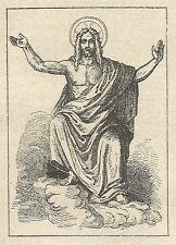 A4097 Gesù Cristo da quadro di Pietro di Cornelio - Incisione Antica del 1889