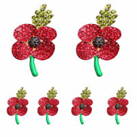 Black Red Crystal Poppy Brooches Pins Broach Leaves Remembrance Day Gifts Xmas