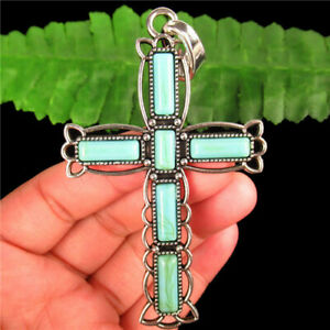 Carved Tibetan silver Wrapped Turquoise Cross Pendant Bead F89242