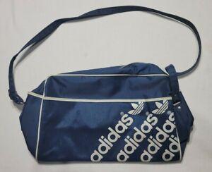 Vintage 70's Adidas Gym Travel Tote Shoulder Strap Blue & White Original Logo