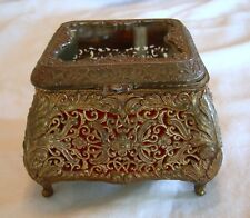 Antique Victorian GILT RETICULATED BRASS JEWELRY CASKET BOX w/ Glass Top