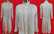 Victorian Watteau Pleat White Cotton Broderie Anglaise Whitework Nightgown Dress