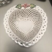 Vintage Heart Shaped Ceramic reticulated bowl & Flower Made In Portugal