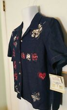 KORET City Blues Woman's Demin Short Sleeved Button Front Small (S) Floral Shirt