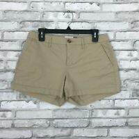 "Old Navy Womens 4 Mid Rise Solid Beige Cotton Stretch Shorts Pockets 3"" Inseam"