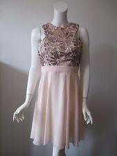 Little Mistress London Pink Embroidered Sequin Sleeveless Mini Dress US 8
