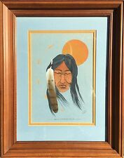 """Jonny Hawk 1975 Native American painting """"Sadness Is Not For You-Only Me"""" Framed"""
