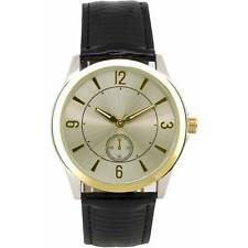 Men's Round Metal Case Black Buckle Clasp Band Wristwatch-New in Retail Packing