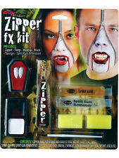 Vampire Zipper Face Kit Zip Fangs Special Effect FX Makeup Halloween Vampiress