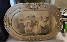 Antique Framed Family Photo Oval Gilt Gold Ornate Wood Frame 1800s