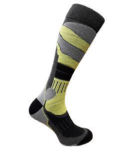 Winter Snowboard Ski Long Warm Shaped Socks Wool Antibacterial Lime Grey Black