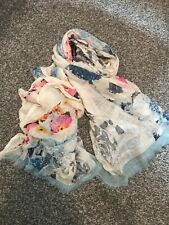 River Island White scarf with floral & butterfly print & pale blue border BNWOT