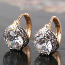 HUCHE 7mm Diamond White Topaz Crystal Round Silver & Gold Tone Women Earrings